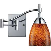 Celina 1 Light Swingarm Sconce In Polished Chrome And Espresso