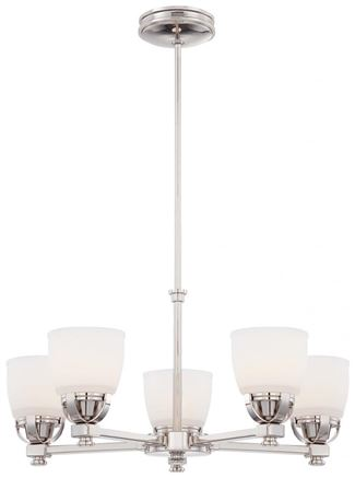 Minka-Lavery Brookview 5 Light Chandelier In Polished Nickel Finish w/ Etched Opal Glass in Polished Nickel Finish - 1505-613