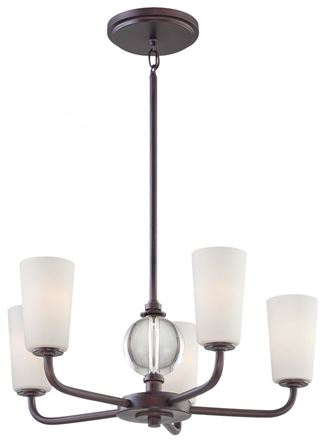 Minka-Lavery Modern Continental 5 Light Chandelier In Kinston Bronze Finish w/ Etched Opal Glass And Eidolon Krystal Accents in Kinston Bronze Finish - 1615-298