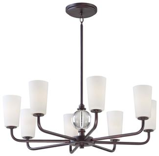 Minka-Lavery Modern Continental 8 Light Chandelier In Kinston Bronze Finish w/ Etched White Glass And Eidolon Krystal Accents in Kinston Bronze Finish - 1618-298