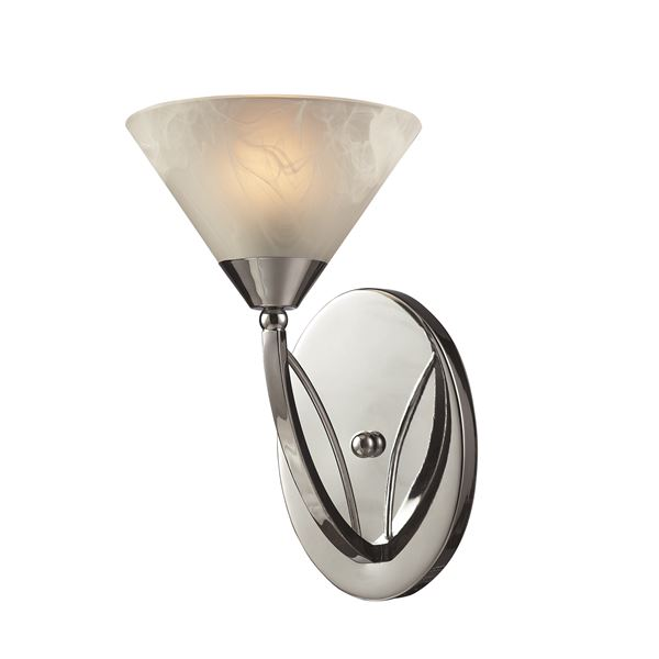 Elysburg 1 Light Vanity In Polished Chrome And White Glass