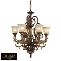 Regency 6 Light Chandelier In Burnt Bronze And Gold Leaf