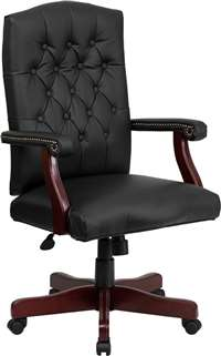 Martha Washington Black Leather Executive Swivel Office Chair