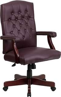 Martha Washington Burgundy Leather Executive Swivel Office Chair
