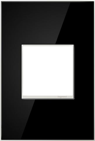 Legrand Adorne Mirror Black Switch Plate in Mirror Black Finish - AWM1G2MB4