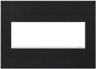 Legrand Adorne Black Leather Switch Plate in Black Leather Finish - AWM3GLE4