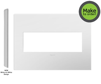 Legrand Adorne Gloss White on White Backplate, 3-Gang Wall Plate AWP3GWHW4