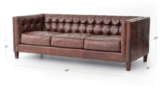 "Four Hands ABBOTT 85"" SOFA-CIGAR CCAR-57"