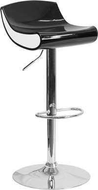 Contemporary Black and White Adjustable Height Plastic Barstool