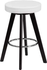 Trenton Series 24'' High Contemporary White Vinyl Counter Height Stool