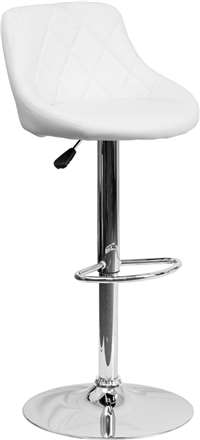 Contemporary White Vinyl Bucket Seat Adjustable Height Barstool
