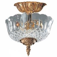 Crystorama 2 Light Olde Brass Lead Crystal Ceiling Mount - 55-CT-OB