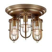 3-Bulb Dark Antique Brass Flushmount