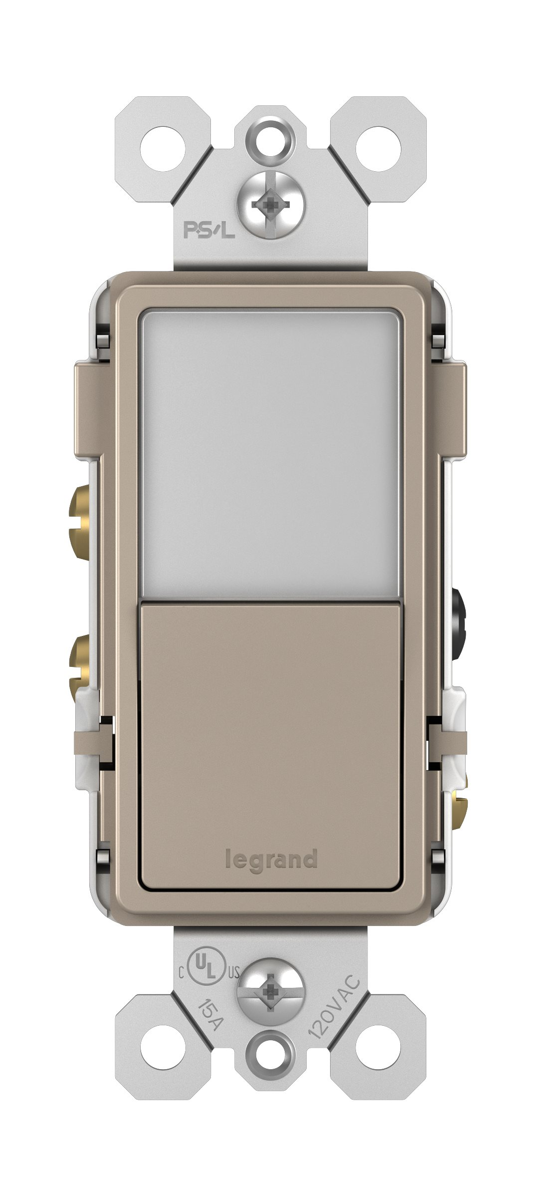 Legrand Radiant Night Light + Single Pole/3-Way Switch - Nickel