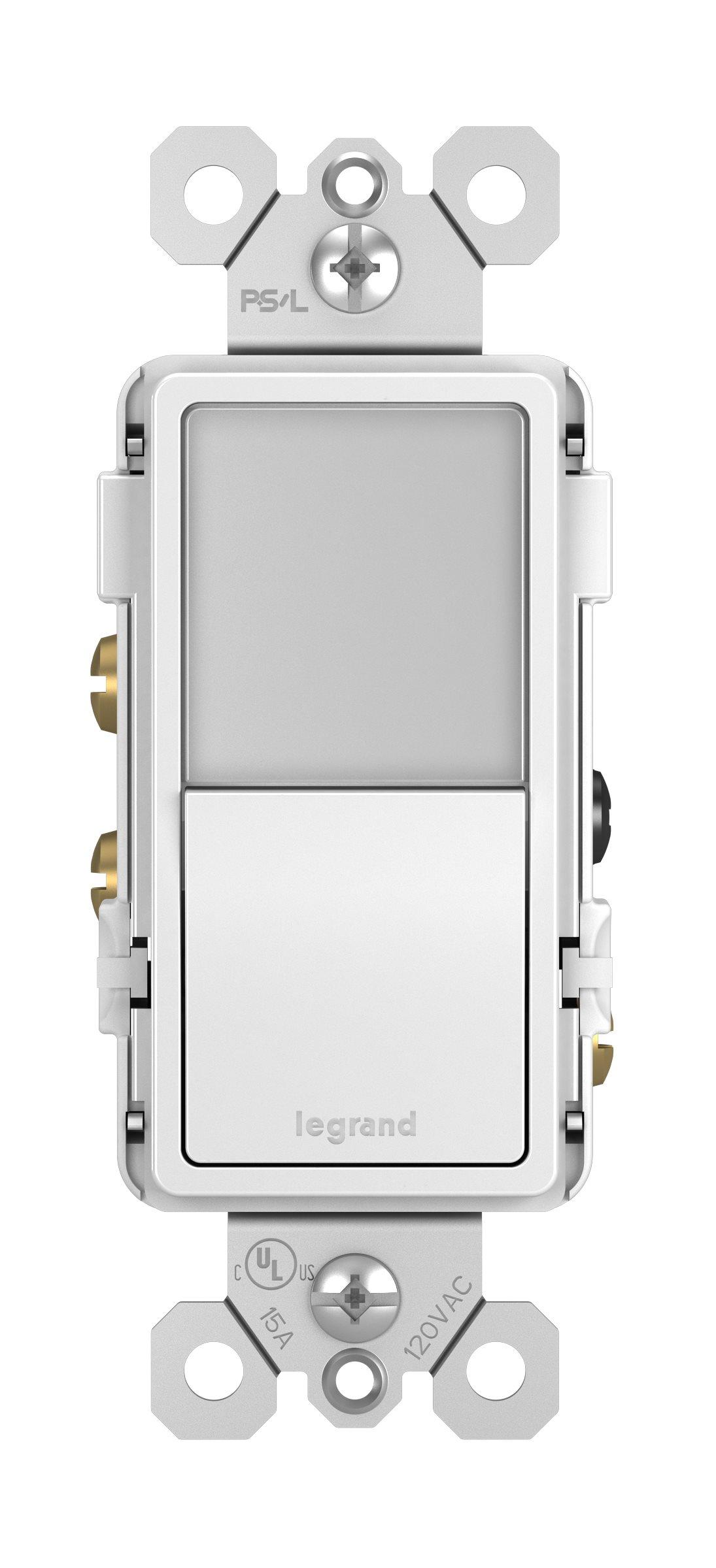 Legrand Radiant Night Light + Single Pole/3-Way Switch - White