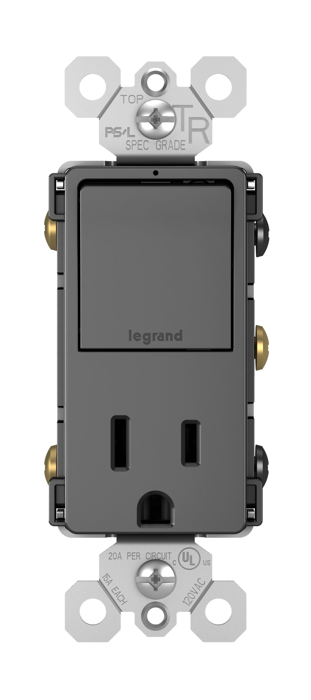 Legrand Radiant Single Pole/3-Way Switch + 15A TR Outlet - Black