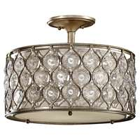 3-Bulb Burnished Silver Semi flushmount