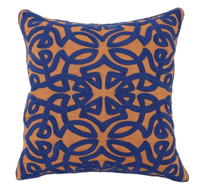 Classic Home 18x18 Jada Sienna Dk Blue Throw Pillow V950557