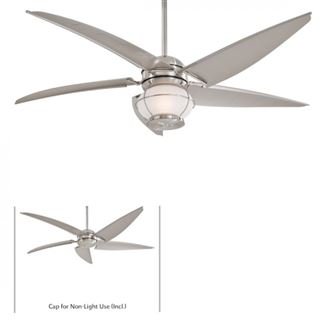 "Minka-Aire Magellan 60"" Outdoor Fan w/ 5 Sail Blades In Brushed Nickel Wet Finish w/ All Weather Silver Blades - F579-L-BNW"